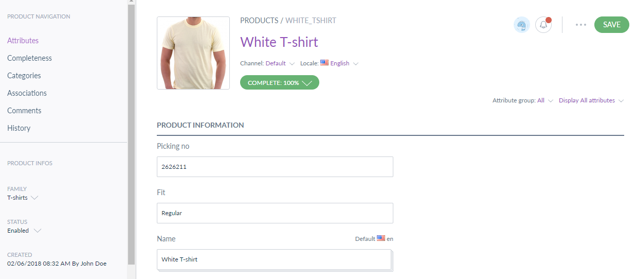 fill product information