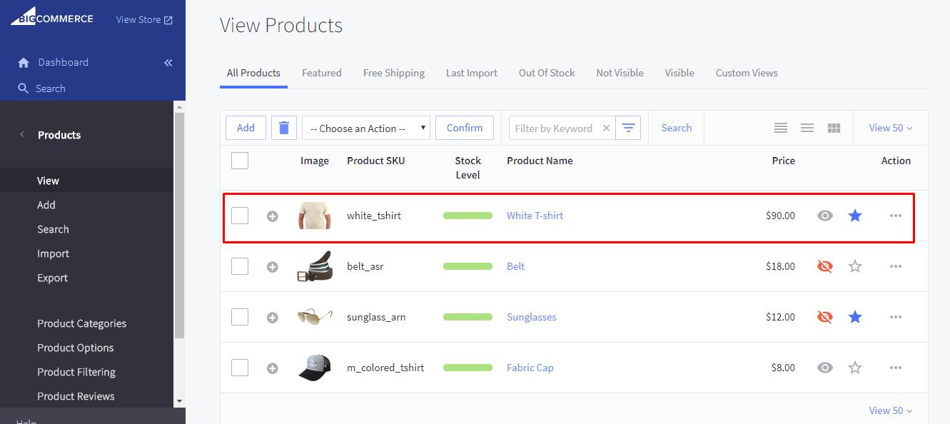 product list