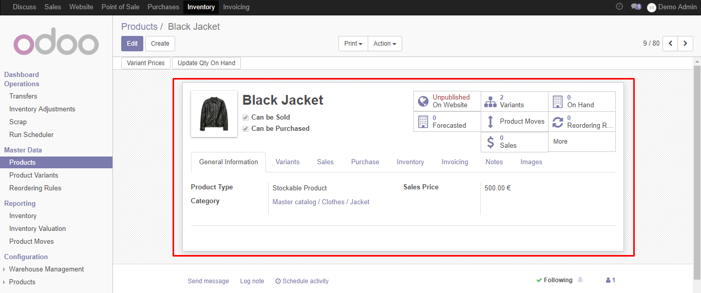 product model imported in odoo