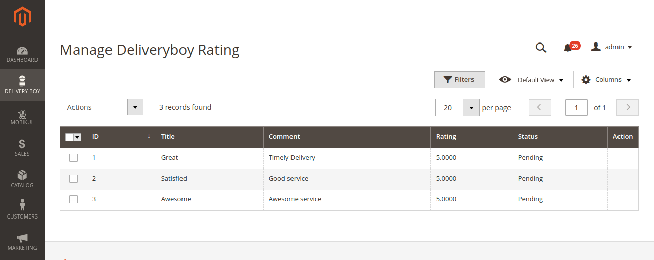 webkul-magento2-delivery-boy-admin-end-ratings-view