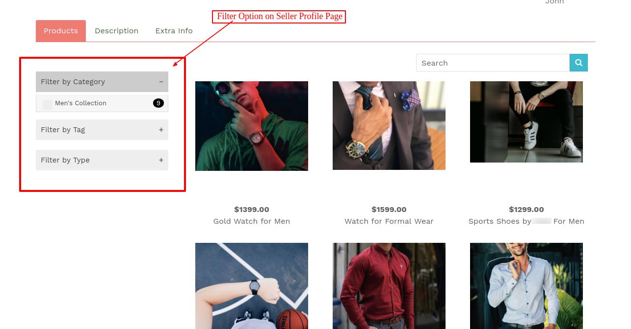 filter option on seller profile page