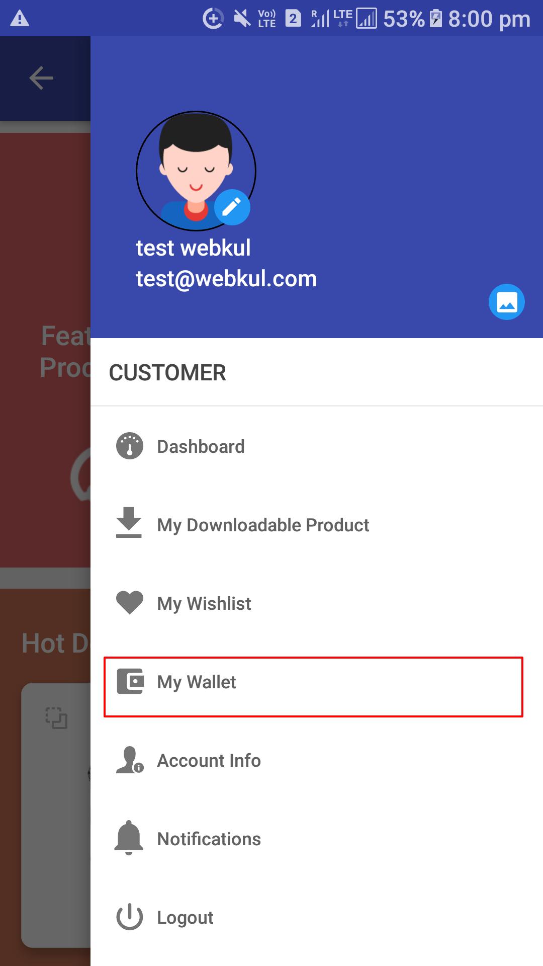 Opencart Mobikul Wallet - Customer Wallet Details Menu Option