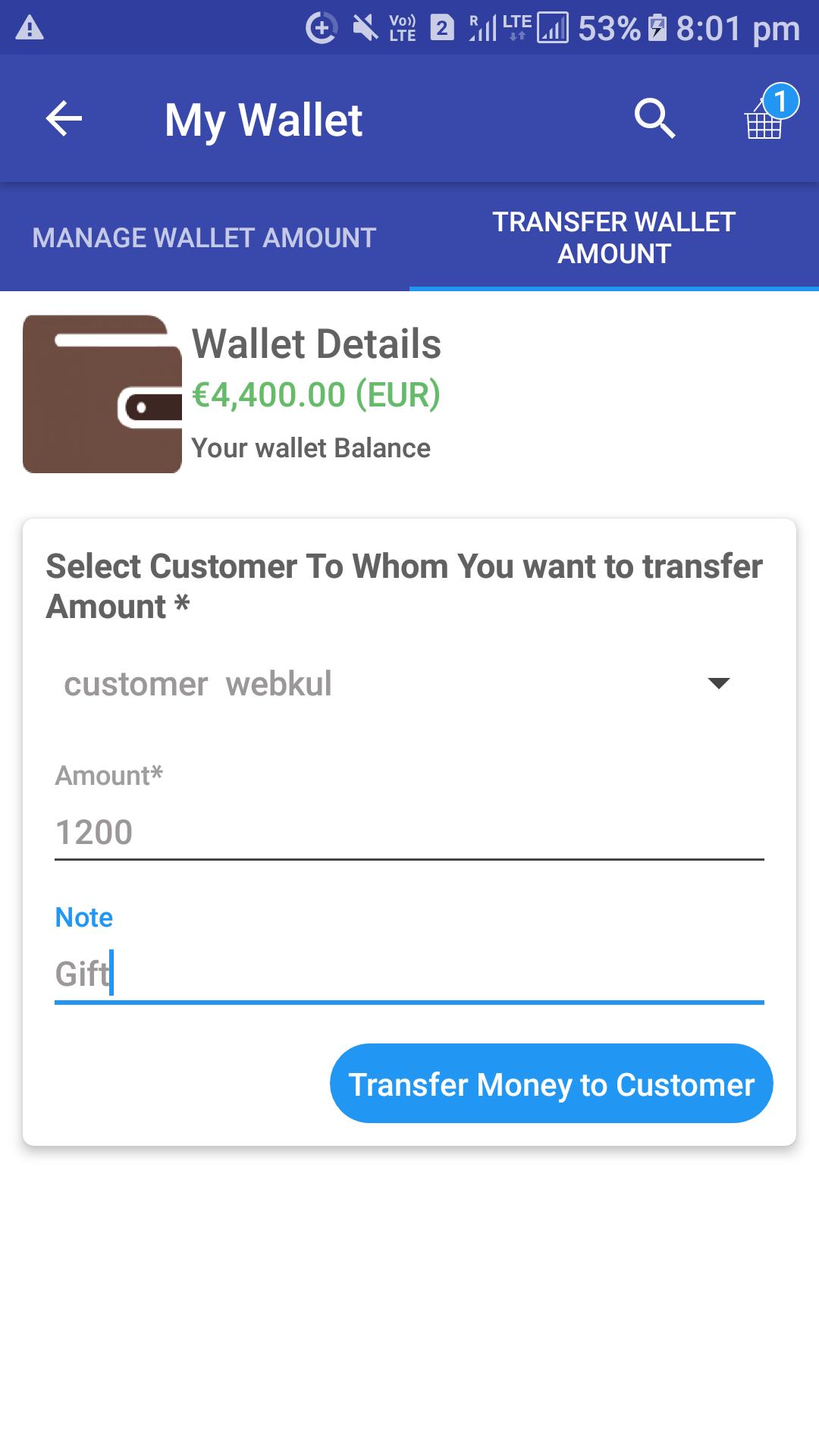 Opencart Mobikul Wallet - Transfer Amout to Customer Wallet
