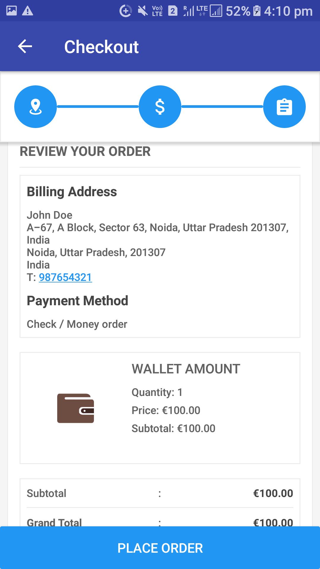 Opencart Mobikul Wallet - Checkout Process