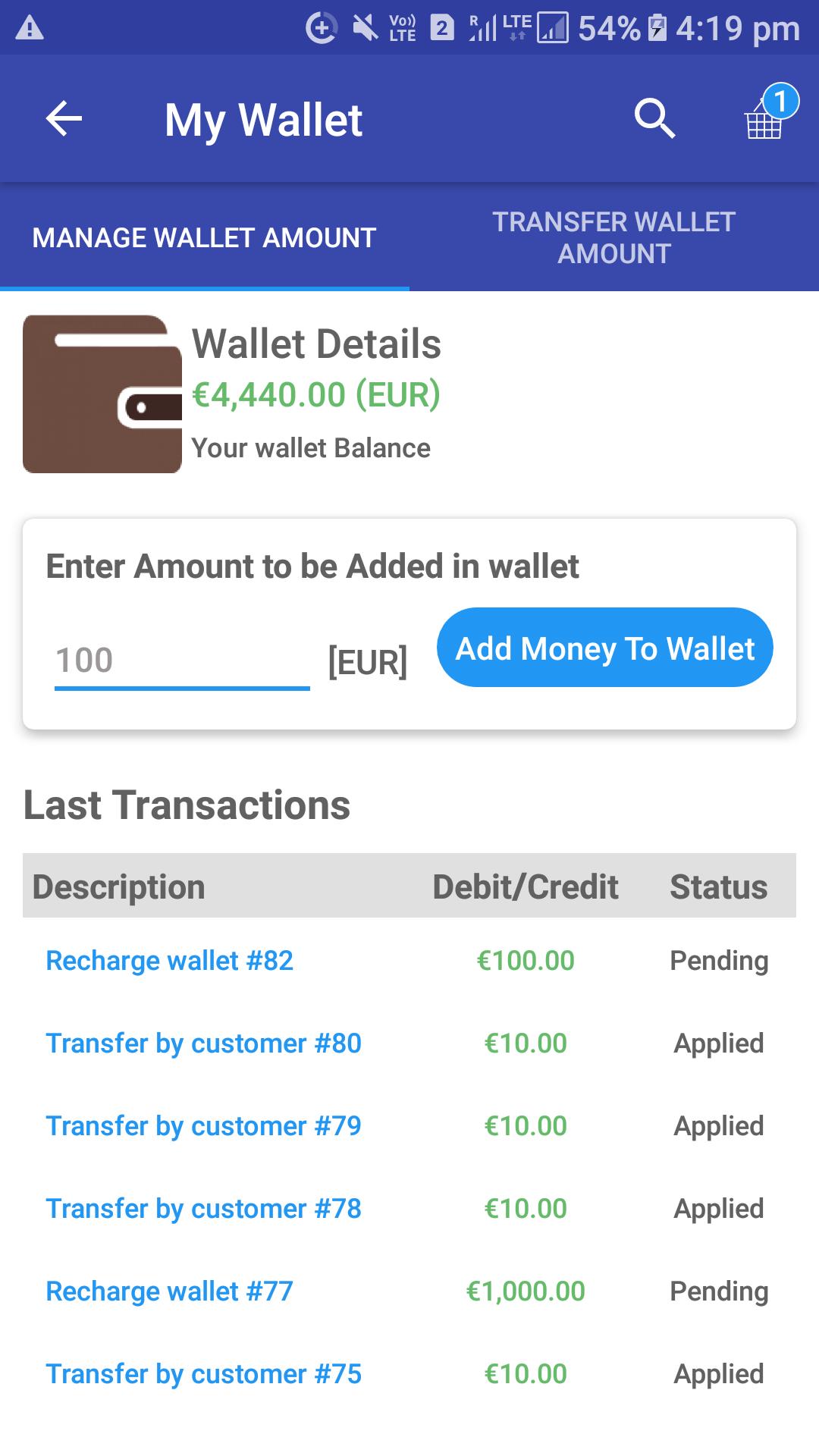 Opencart Mobikul Wallet - Check Transaction Details