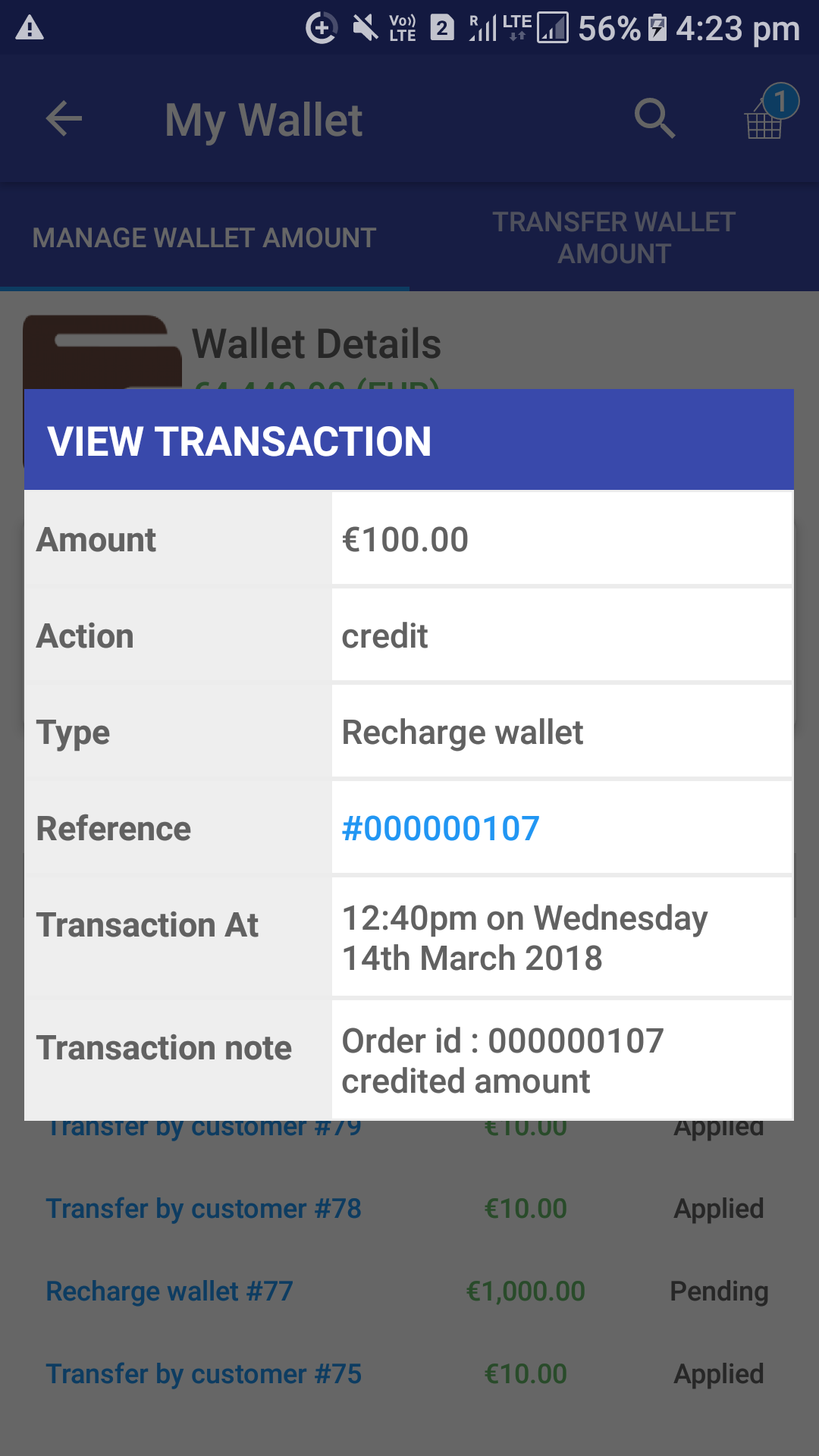 Opencart Mobikul Wallet - View Transaction Details