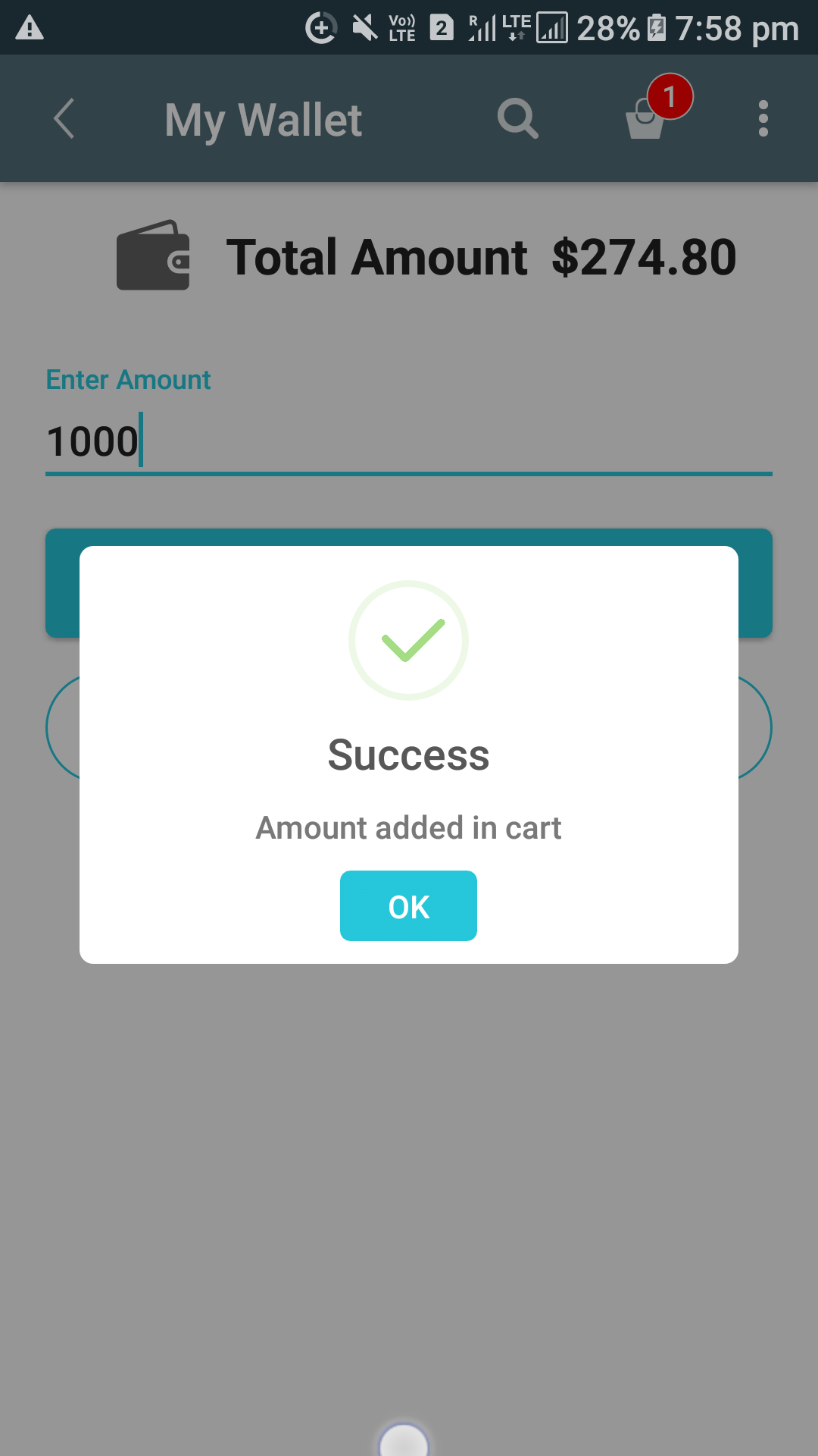 Opencart Mobikilul Wallet - Amount Add to Wallet