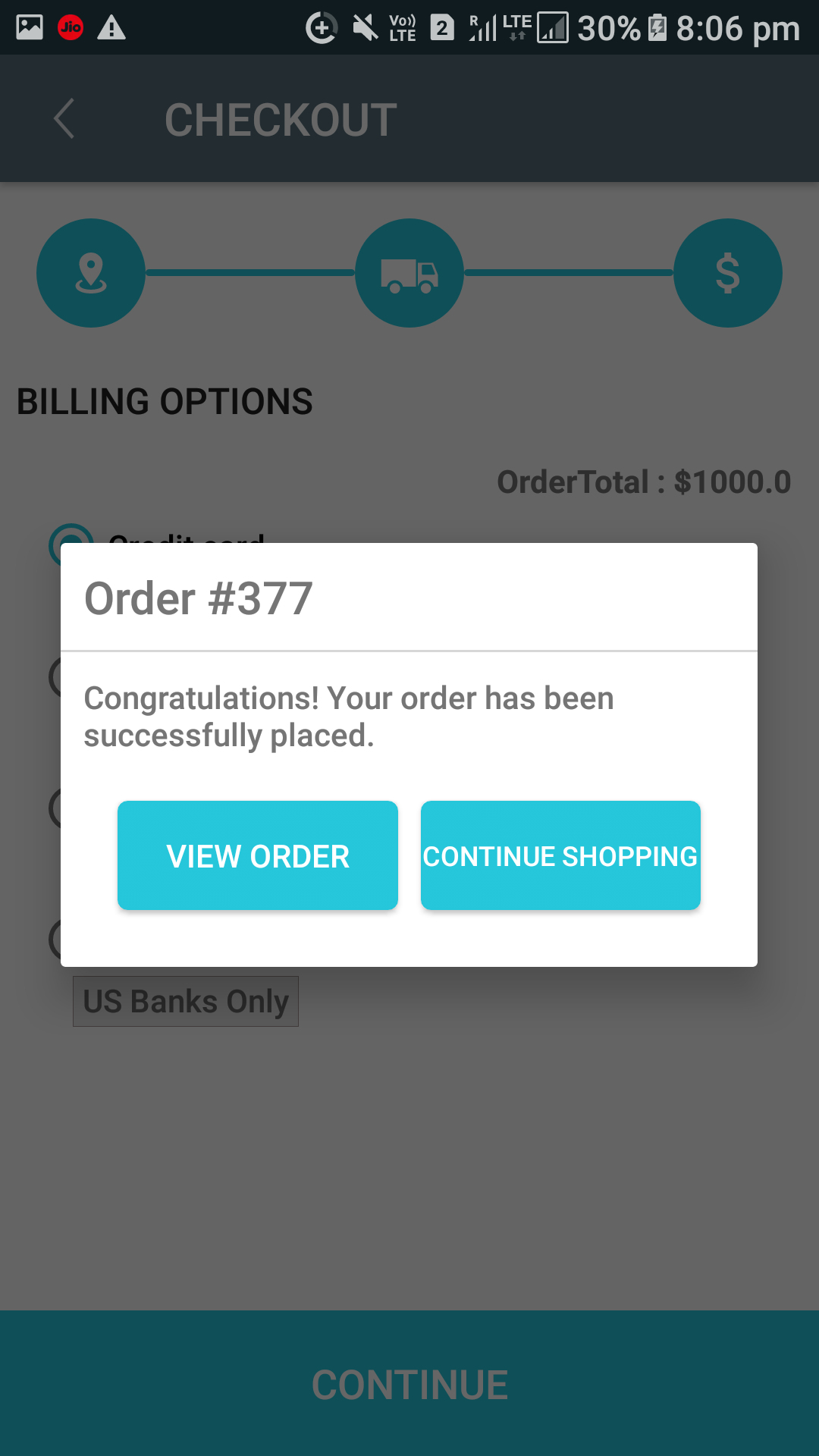 Opencart Mobikilul Wallet - Order Placed