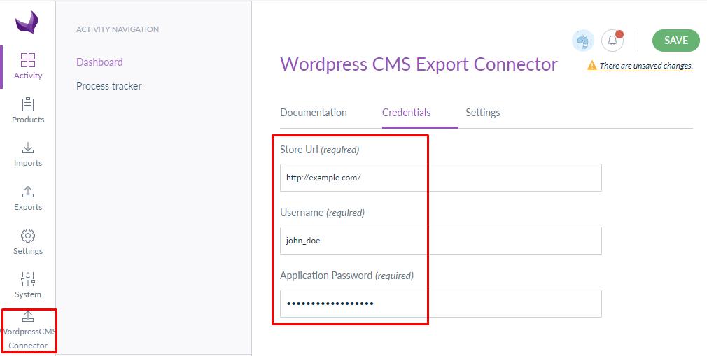 WordPress CMS Akeneo Connector akeneo credentials
