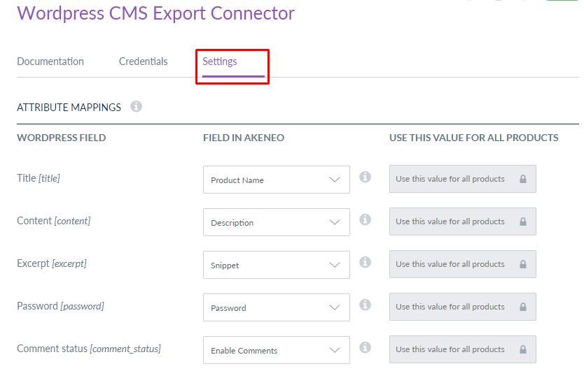 WordPress CMS Akeneo Connector-attribute mappings