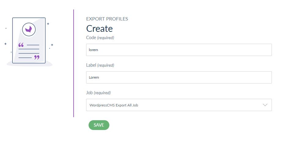 create export profile wordpress cms