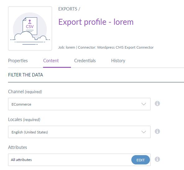 export job - content