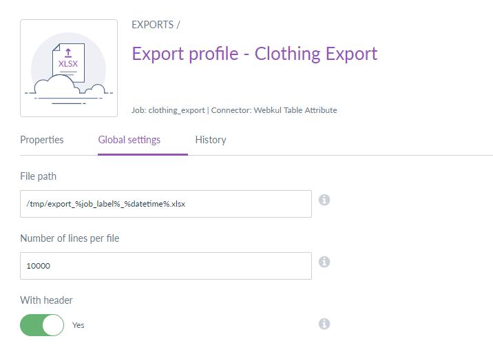export profile - global settings