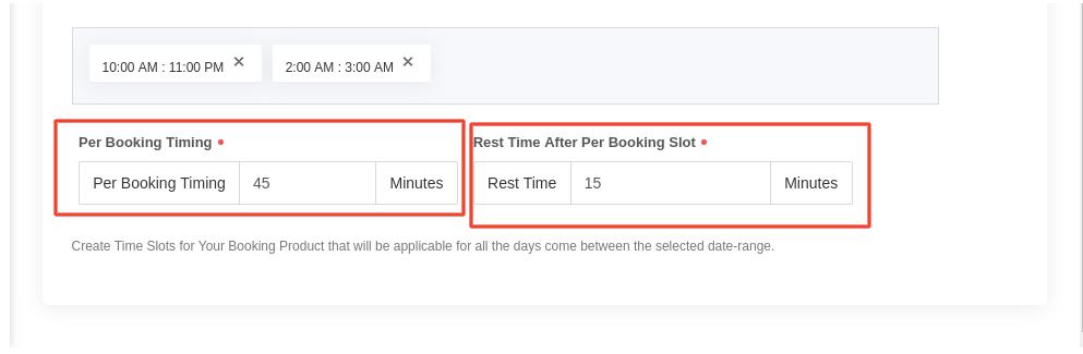 per booking slot