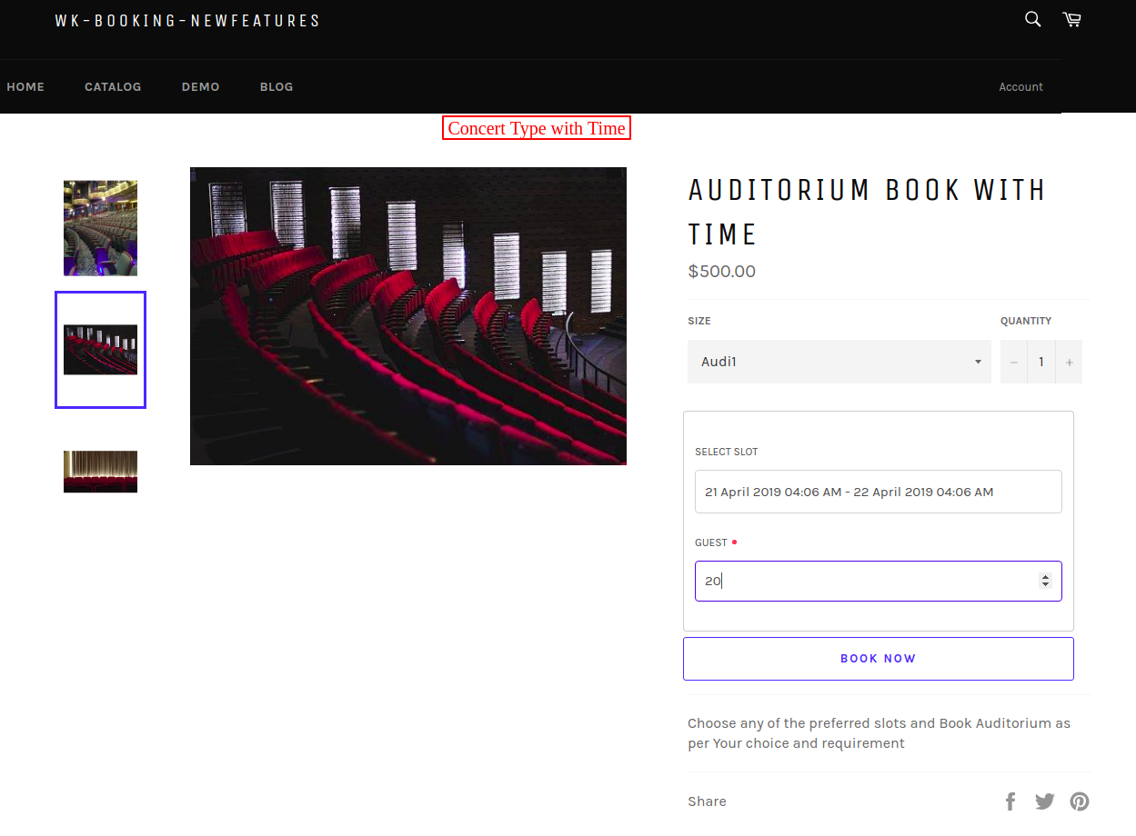 Auditorium Book with time – wk booking newfeatures