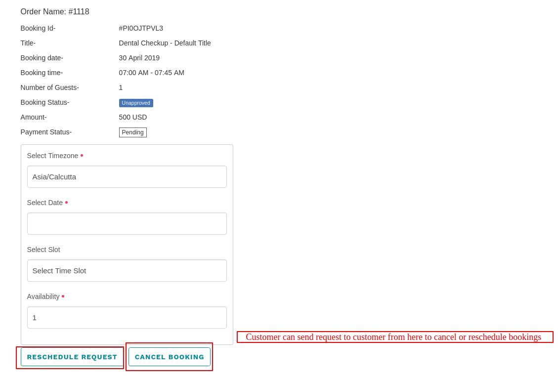 Booking Information – webkul booking app demo