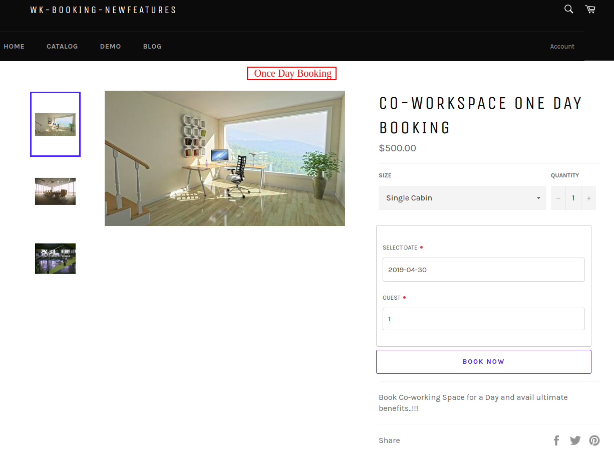 Co Workspace One Day Booking – wk booking newfeatures