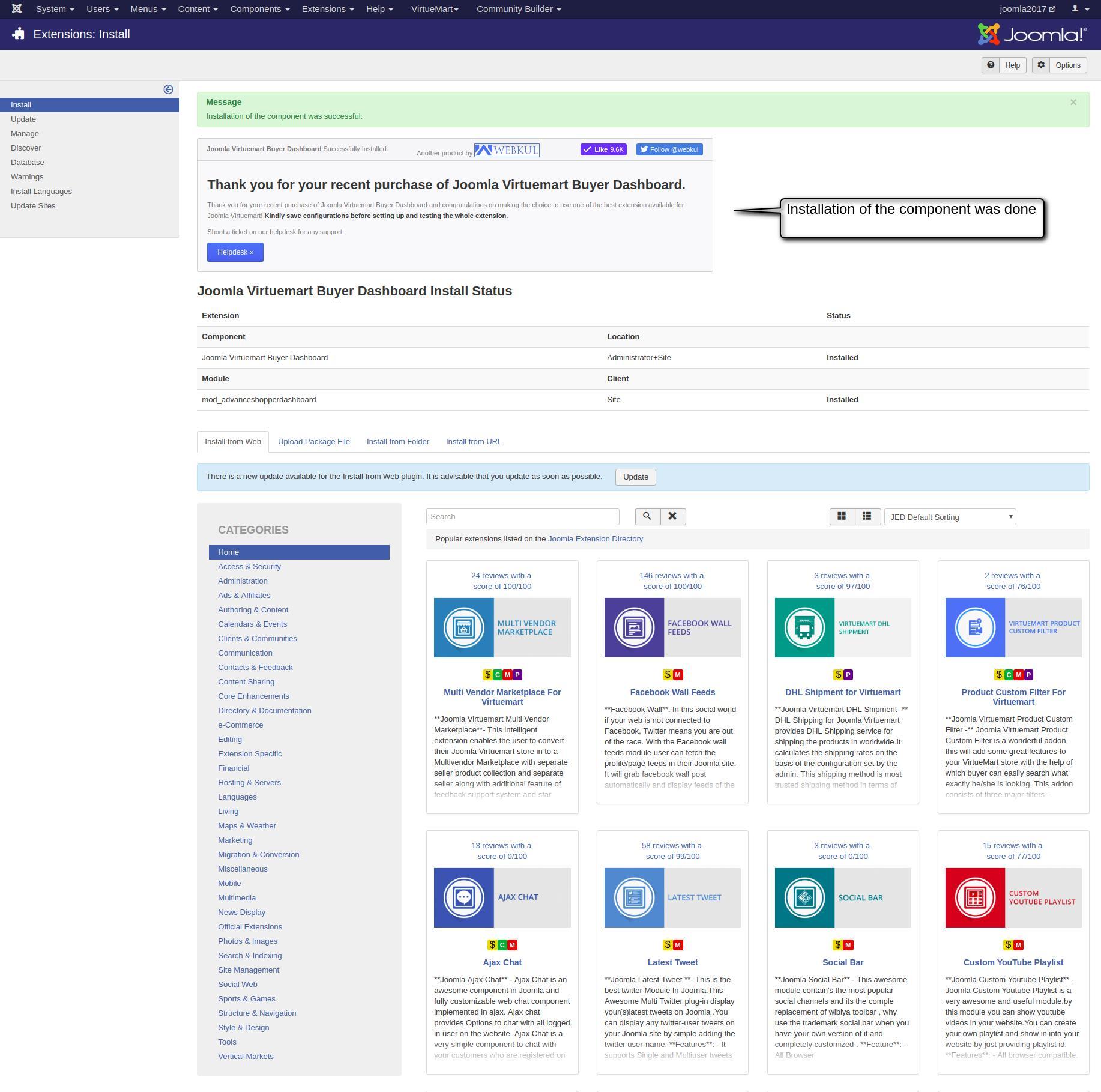 Joomla Virtuemart Buyer Dashboard For viewing Order, Reviews