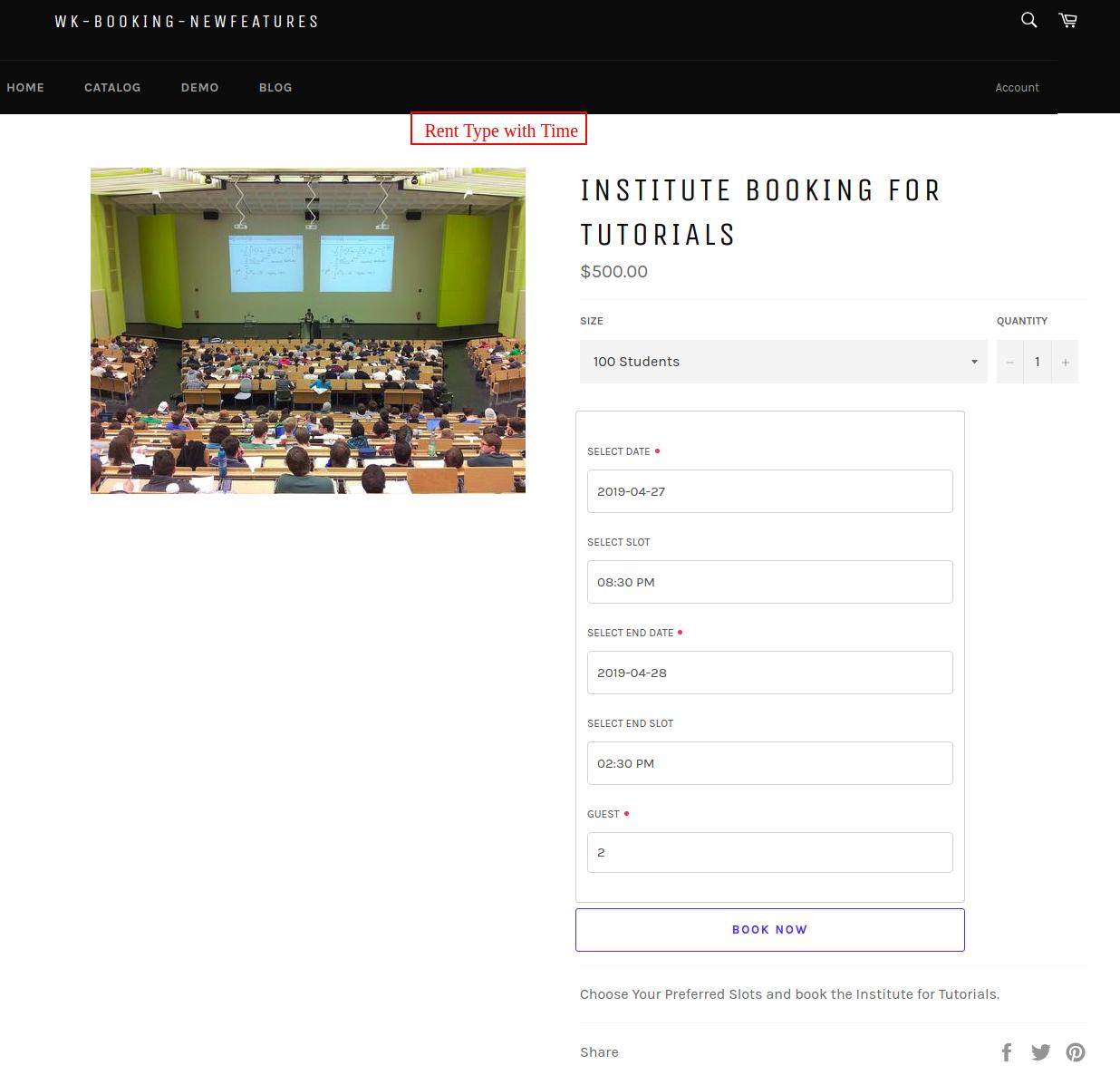 Institute booking for tutorials – wk booking newfeatures
