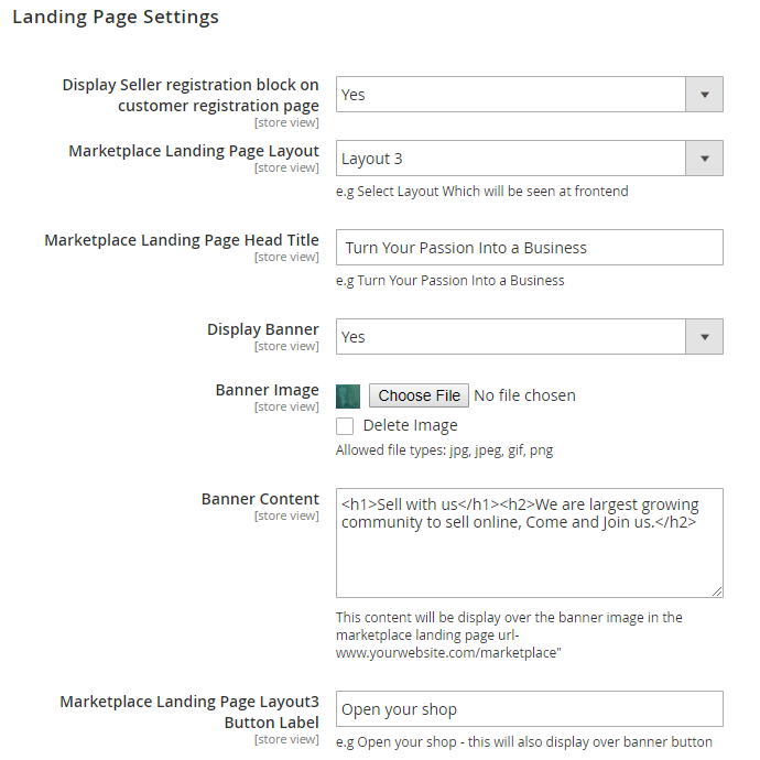 landing page settings