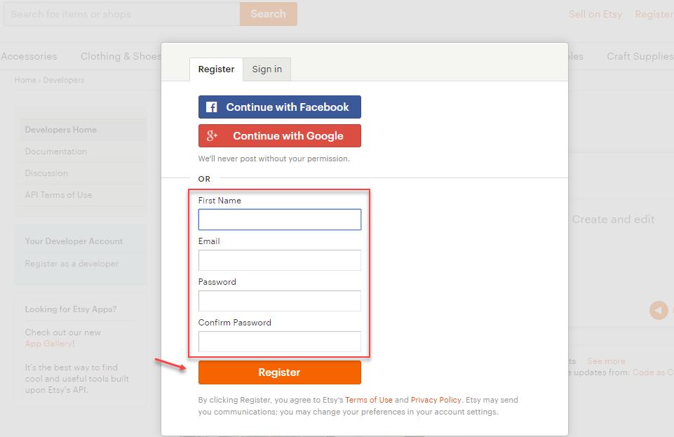 etsy developer account register