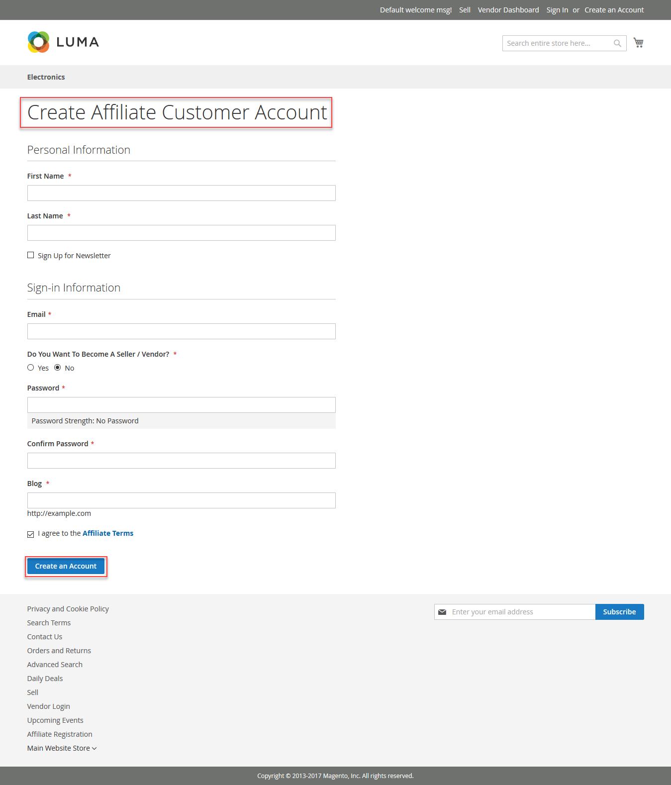 Affiliate Customer Registration