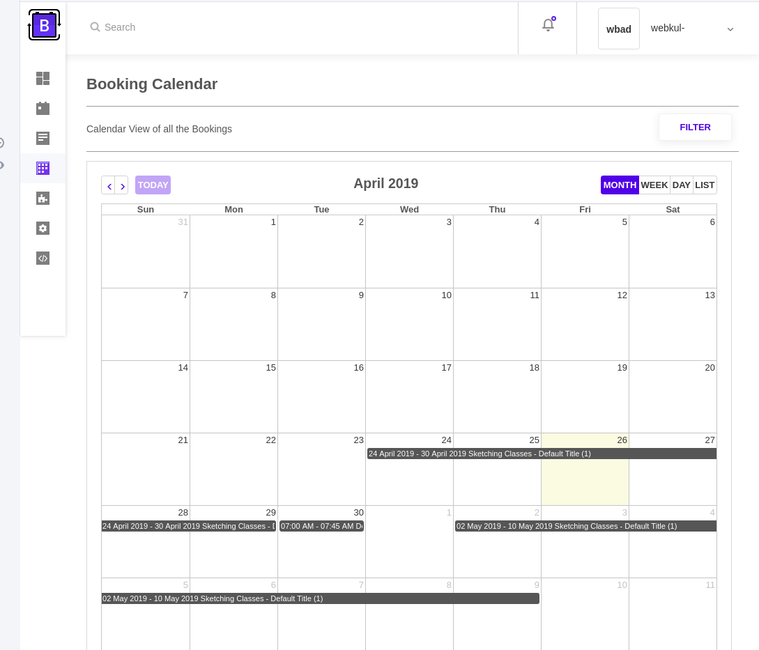 Calendar View for Bookings