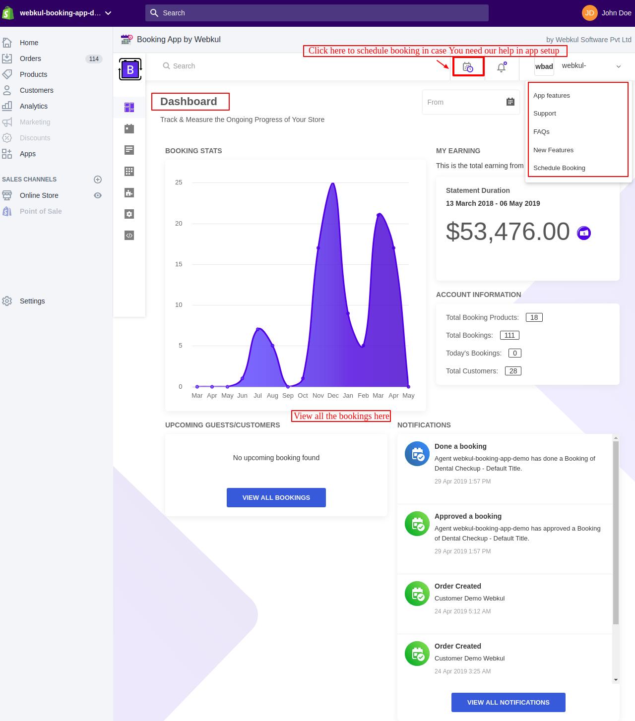 screencapture webkul booking app demo myshopify admin apps booking app by webkul booking management web en app 2019 05 06 16_08_47