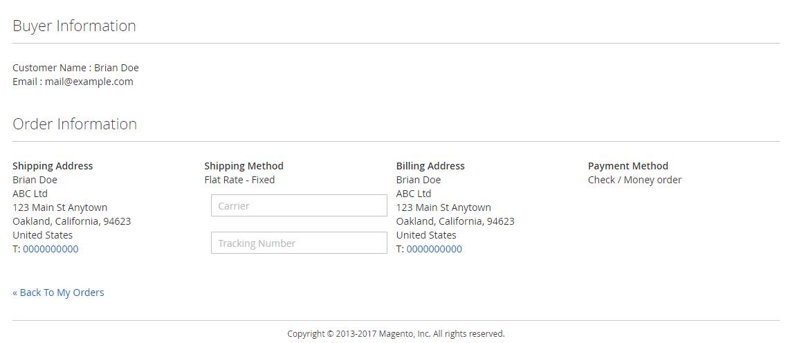 supplier order details - buyer details