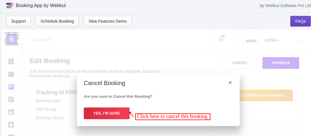 cancel customer bookings