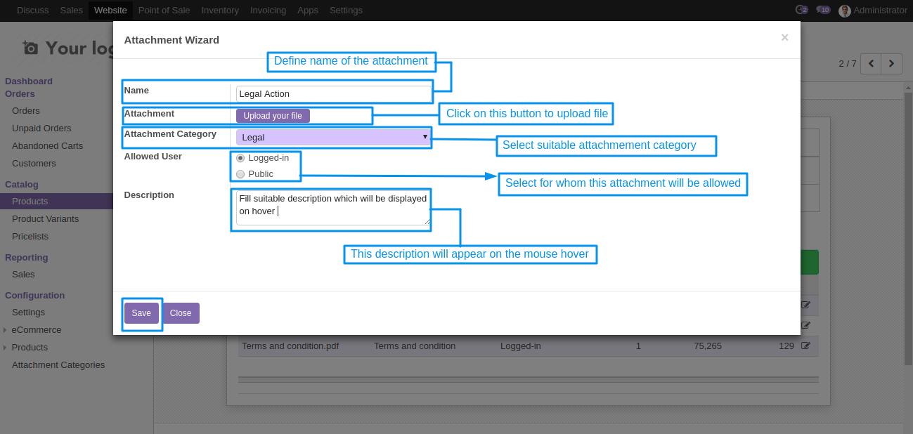 attachment file details configuration