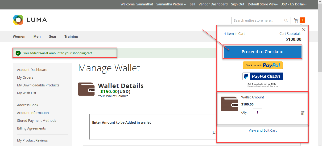 Add amount to wallet system