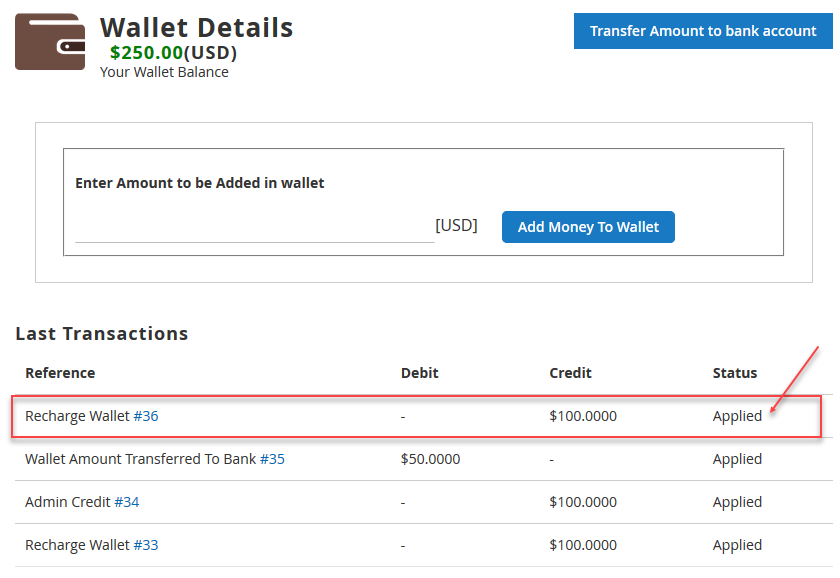 Magento 2 Marketplace Wallet Applied status of transaction