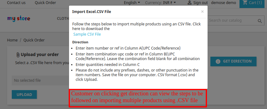 Direction for creating a CSV file
