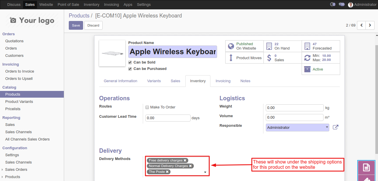 Odoo Shipping Per Product | different delivery method for
