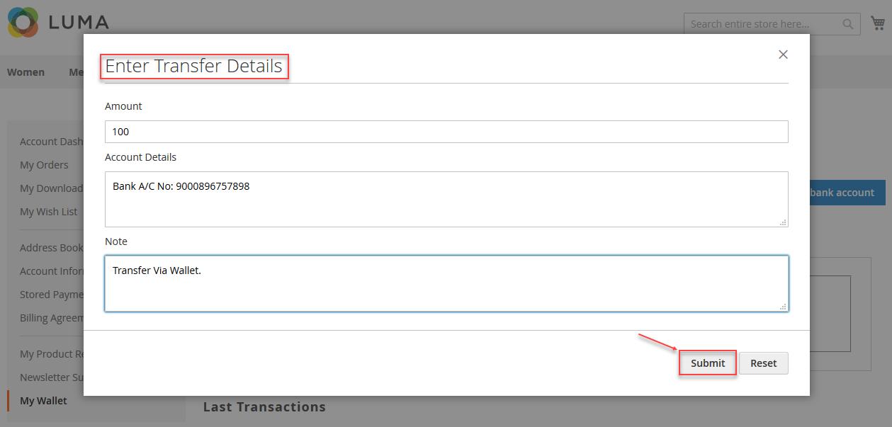 Magento 2 Marketplace Wallet transact details