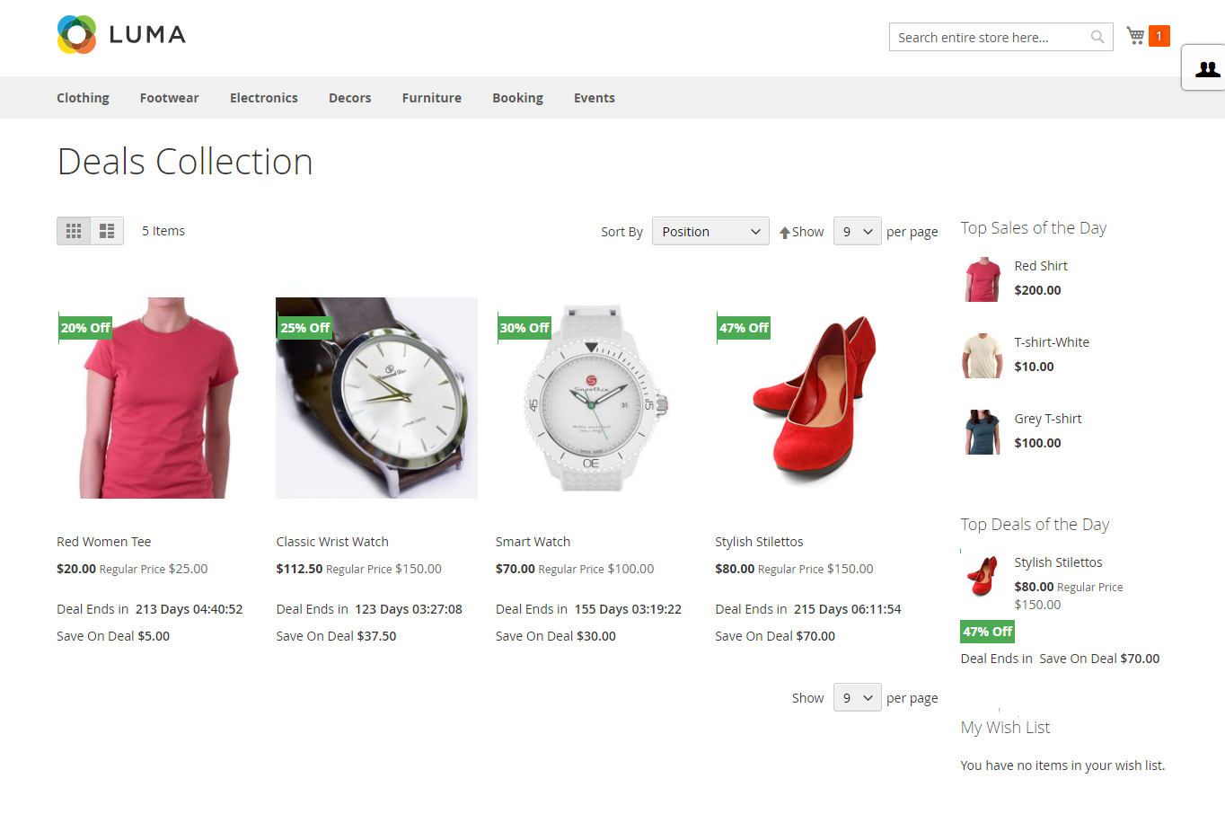 Marketplace Daily Deal For Magento2 catalog page