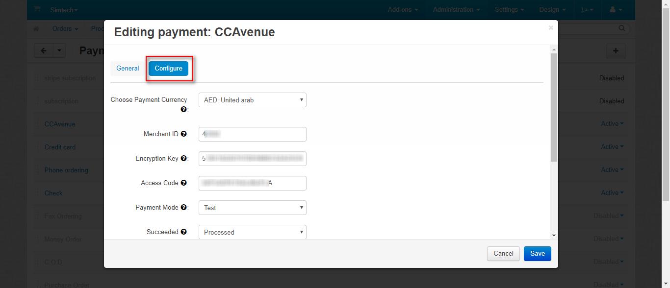 CCAvenue settings