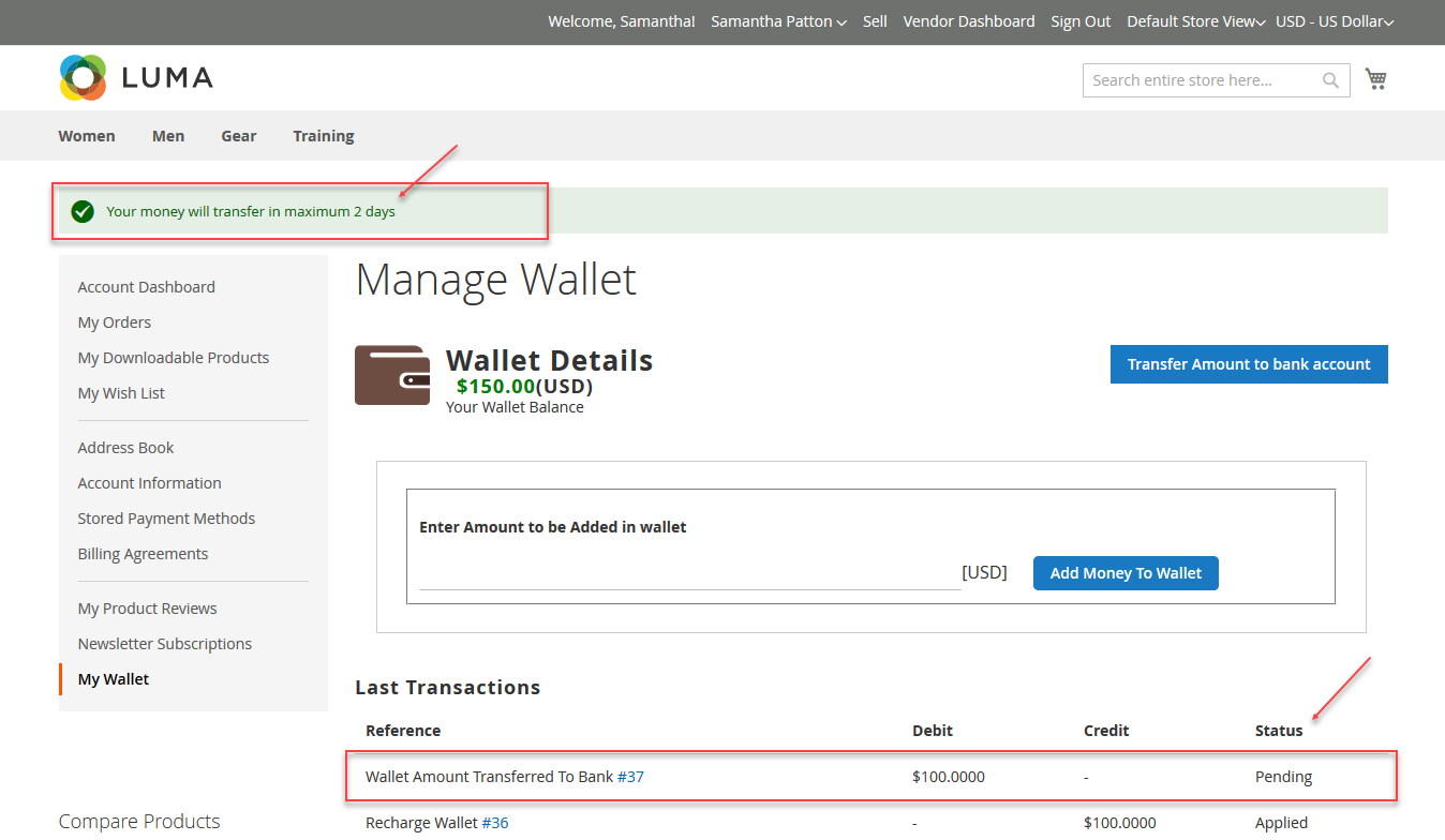 Manage wallet