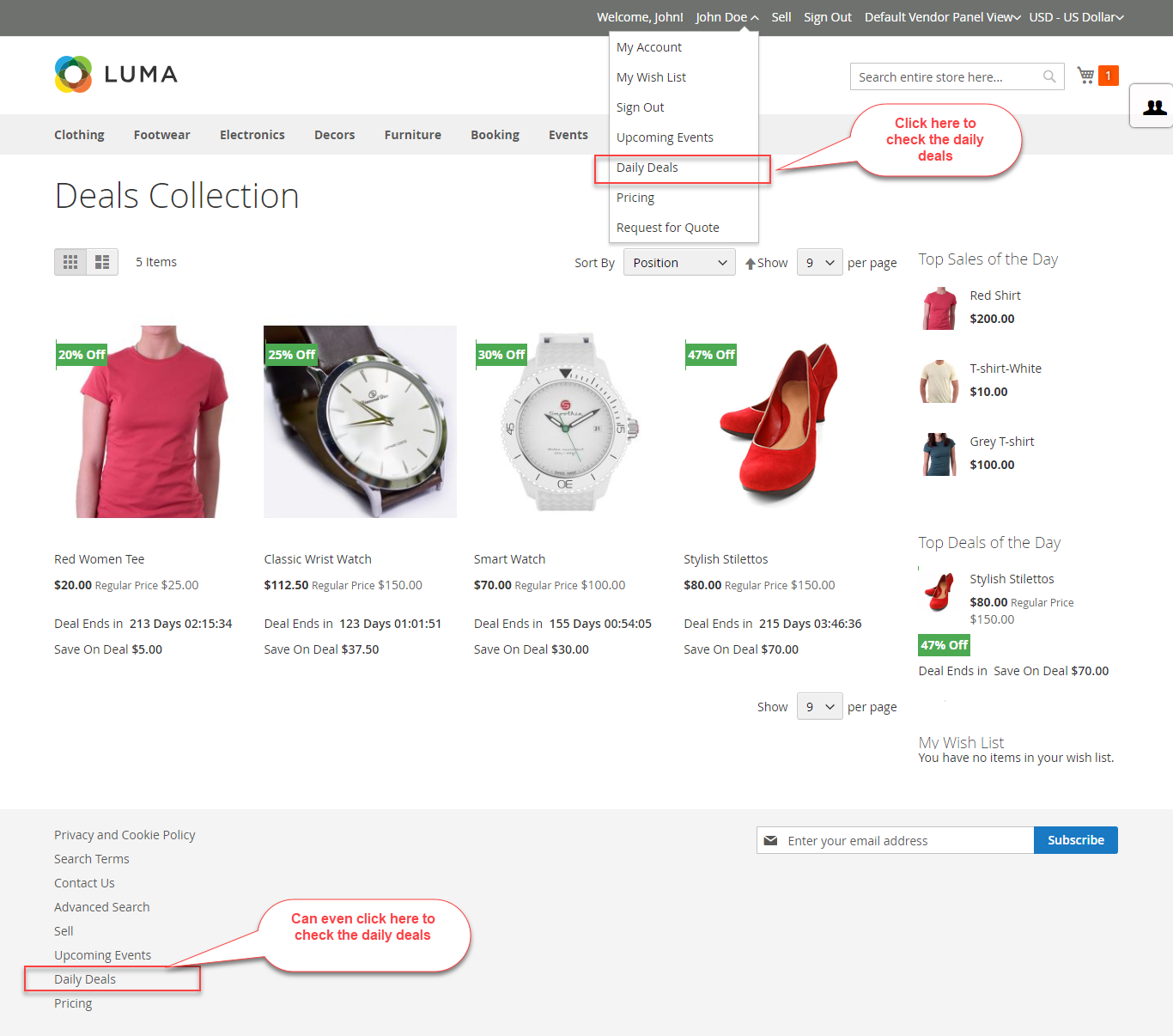 Marketplace Daily Deal For Magento2 deal collection