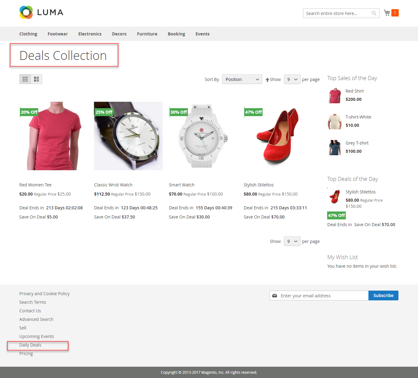 Marketplace Daily Deal For Magento2 collection list