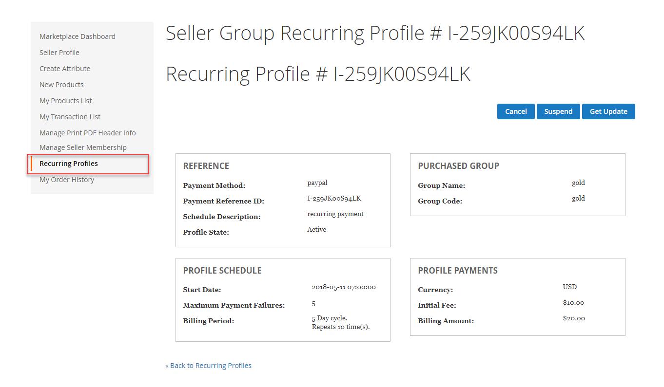 seller group recurring profile