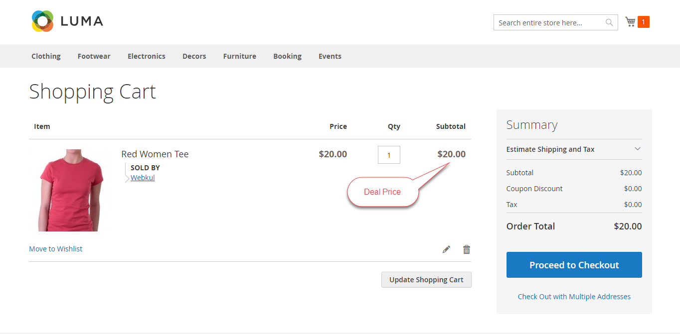 Marketplace Daily Deal For Magento2 shopping cart