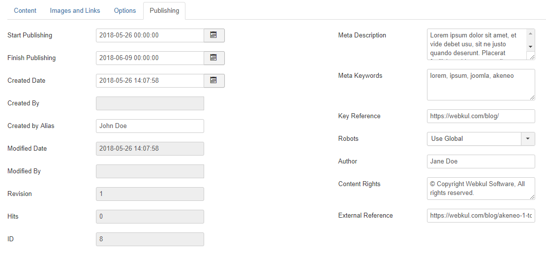 webkul-joomla-akeneo-connector-exported-article-publishing-information