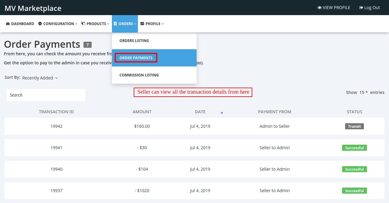 transaction details-Seller Panel