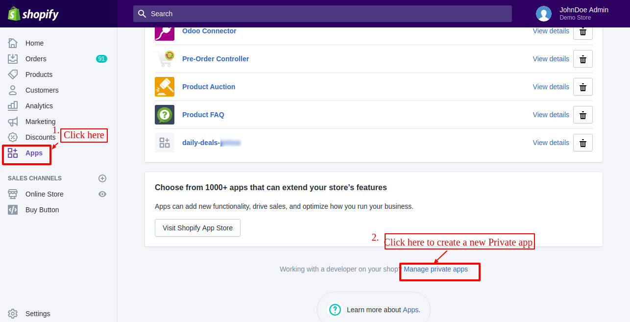 manage private apps
