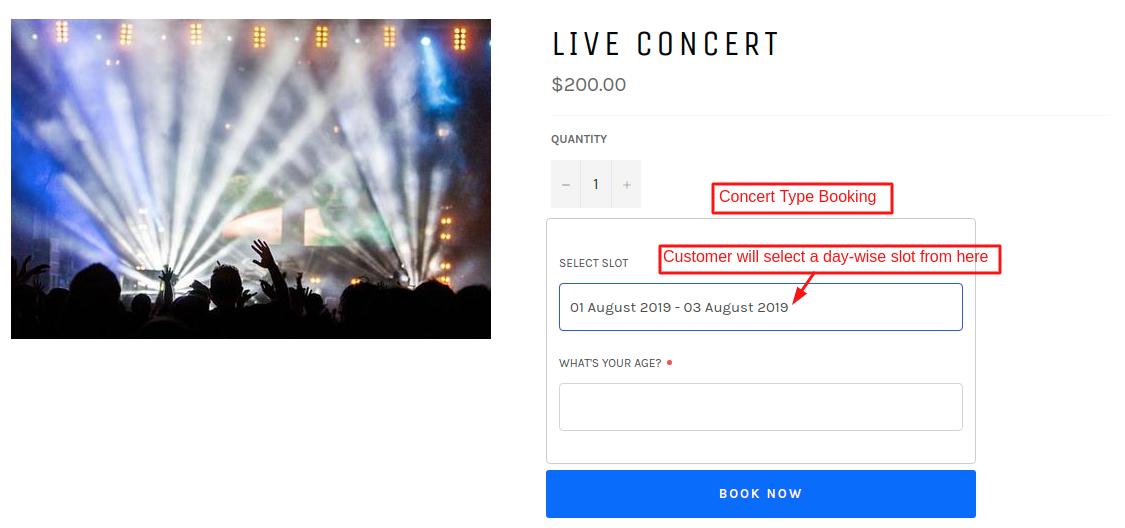 Concert Type bookings