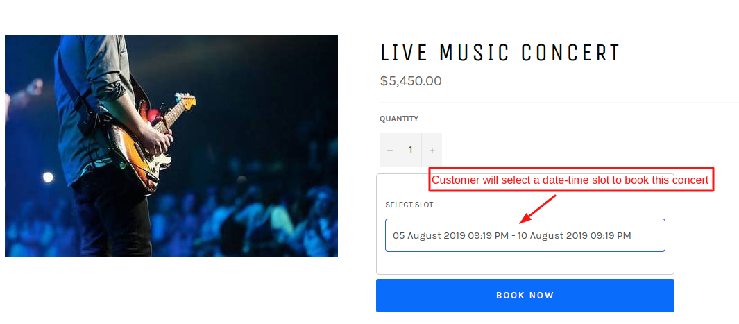 Concert type with time