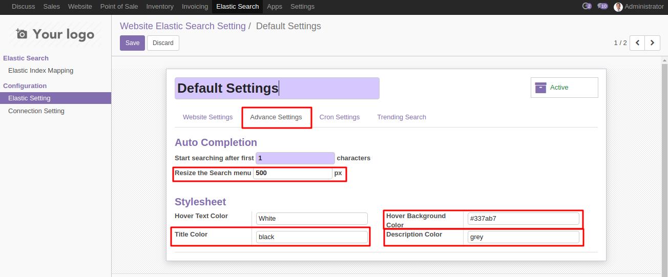 Elasticsearch in Odoo 5