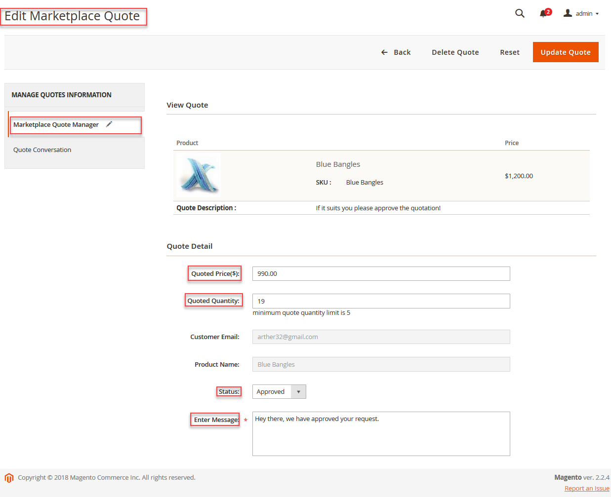 Admin management Of Magento2 Marketplace Quote System